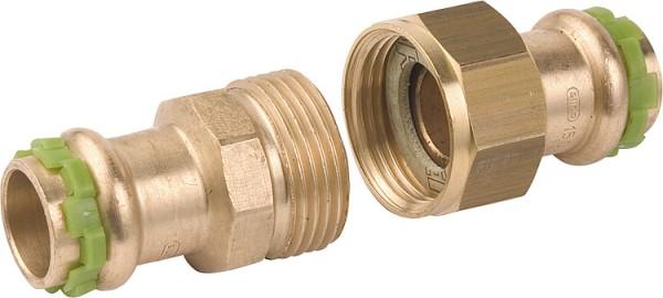 Rotguß Pressfitting Rohrverschraubung flach dichtend P 4330 D: 15mm