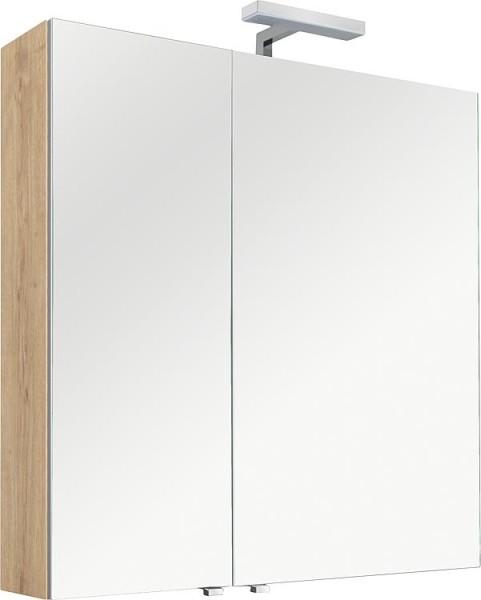 Spiegelschrank mit Beleuchtung Asteiche, 2 Türen 800x770x160mm Bad Schrank
