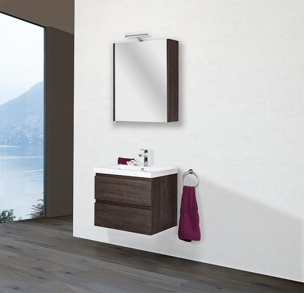 Badmöbel Set ELAI Serie MBO Eiche dunkel Dekor Breite 600mm 2 Auszüge