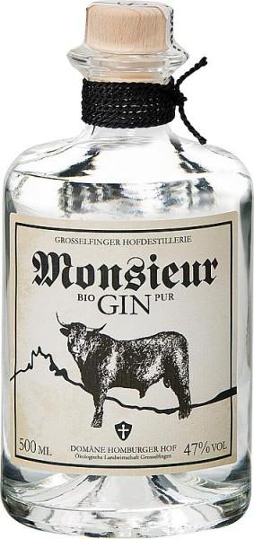Monsieur GIN PUR 47% Vol., 500 ml mit Holzkistengeschenkverpackung