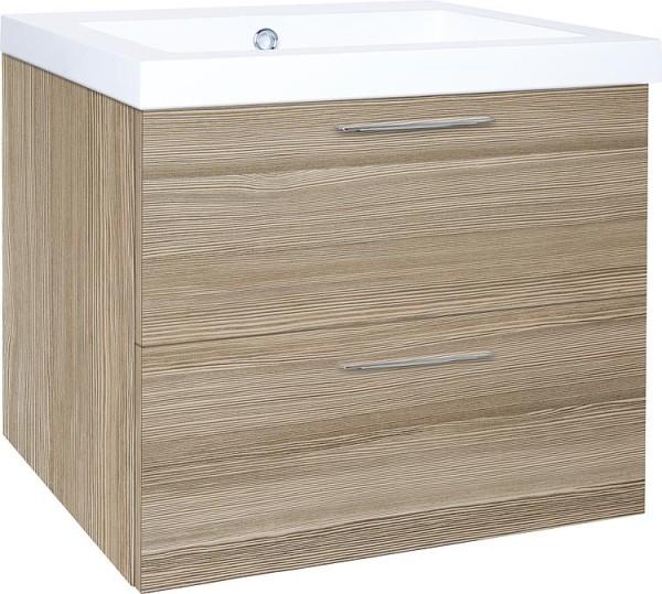 Waschtischunterschrankg + Mineralguss Waschtisch EKRY Lärche hellbraun 2 Auszüge 610x550x510mm