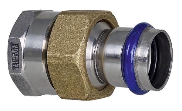 """Edelstahl Pressfitting V-Kontur Durchgangsverschraubung mit IG, flachdichtend 15mm x 1/2"""""""