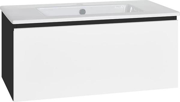 WTU + Keramik-WT Serie ELA Korpus weiß smt - Front Eiche, sägegrau,1210x420x510m