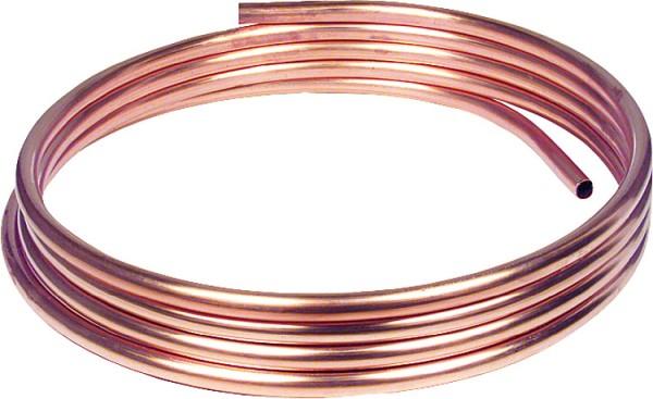 Kupfer-Installationsrohr weich in Ringen a 50 m, 15 x 1,0 mm RAL/DVGW, DIN-EN 10