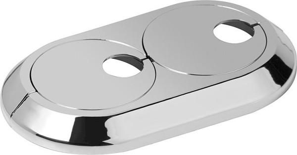 Doppel Excenterrosette 16mm Kunststoff verchromt verstellbar Rosette Heizkröper