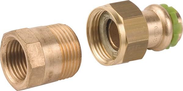 Rotguß Pressfitting Rohrverschraubung mit IG flach dichtend P 4330 G 15x3/4