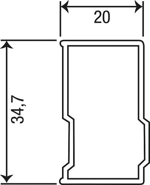Erweiterungsprofil Eloa, B=20mm, L=1950mm, für mo, my, mh, mx