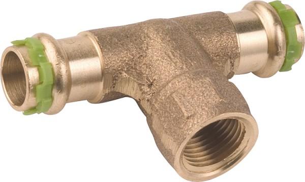 """Rotguß Pressfitting T-Stück mit IG 15 mm x 1/2"""" x 15mm P 4130 G sudo"""