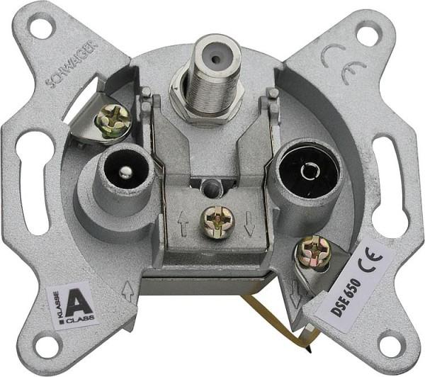 UP-Antennendose Schwaiger 3-loch 1 x F-Buchse, 1 x IEC Buchse, 1 x IEC Stecker