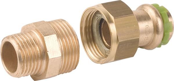 Rotguß Pressfitting Rohrverschraubung mit AG flach dichtend P 4331 G 15x3/4