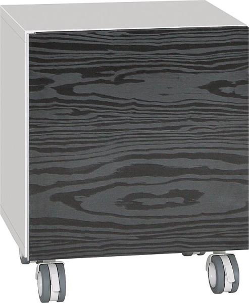 Rollcontainer ELA Korpus schwarz smt - Front Eiche Furnier dunkel 400x400x350mm
