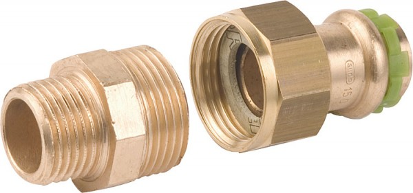 "Rotguß Pressfitting Rohrverschraubung mit AG flach dichtend P 4331 G 15 mm x 1/2"" sudo"
