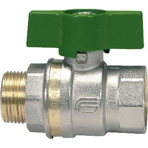 Messingkugelhahn ASTER ACS IG/AG 1/2 DVGW-zertifiziert mit grünem Aluminium Fl