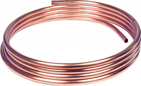 Kupfer-Installationsrohr weich in Ringen a 50 m, 12 x 1,0 mm RAL/DVGW, DIN-EN 10