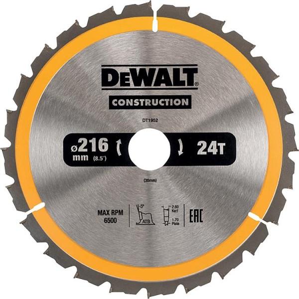 Kreissägeblatt d=216x30mm mit 24 Wechselzähnen, passend für DeWalt DWS773