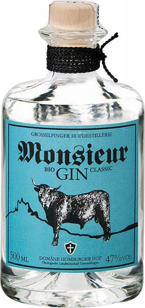 Monsieur GIN CLASSIC 47% Vol., 500 ml mit Holzkistengeschenkverpackung