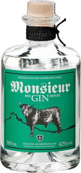 Monsieur GIN MINZE 42% Vol., 500 ml mitHolzkistengeschenkverpackung
