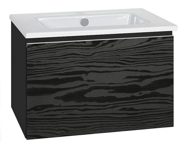 WTU + Keramik-WT Serie ELA Korpus weiß smt - Front Eiche- Furnier dunkel, 910x42