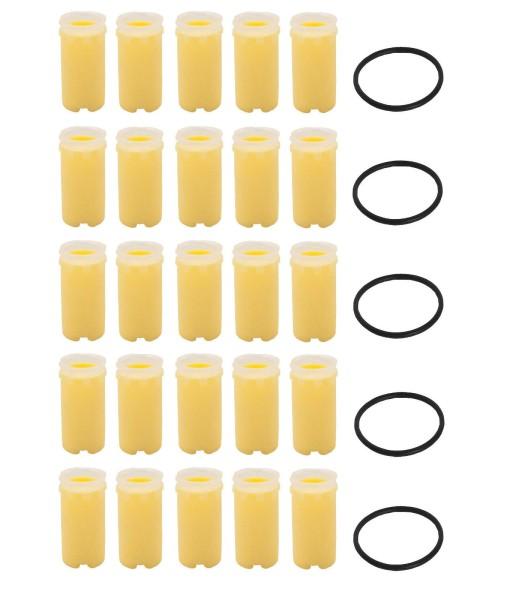 Ölfilter Ersatzfilter SIKU 50 µm rund 25 Stück + 5 Stück Dichtung Filter gelb