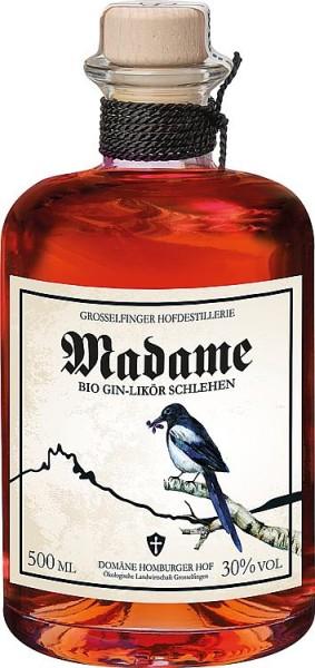 Madame BIO GIN-LIKÖR SCHLEHEN 30% Vol.,500 ml mit Holzkistengeschenkverpackung
