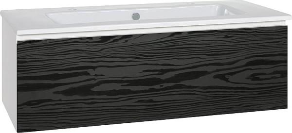 WTU + Keramik-WT Serie ELA Korpus schwarz smt-Front Eiche Furnier dunkel,1210x42