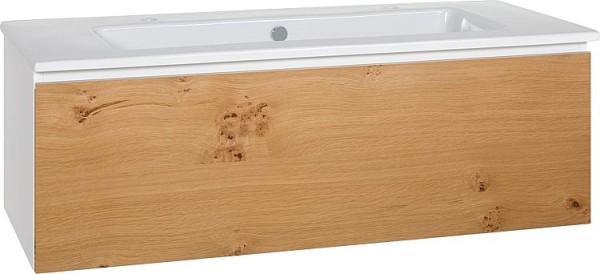 Waschtischunterschrank + Keramik Waschtisch ELA Korpus weiß Front Eiche Furnier hell 1210x420x510