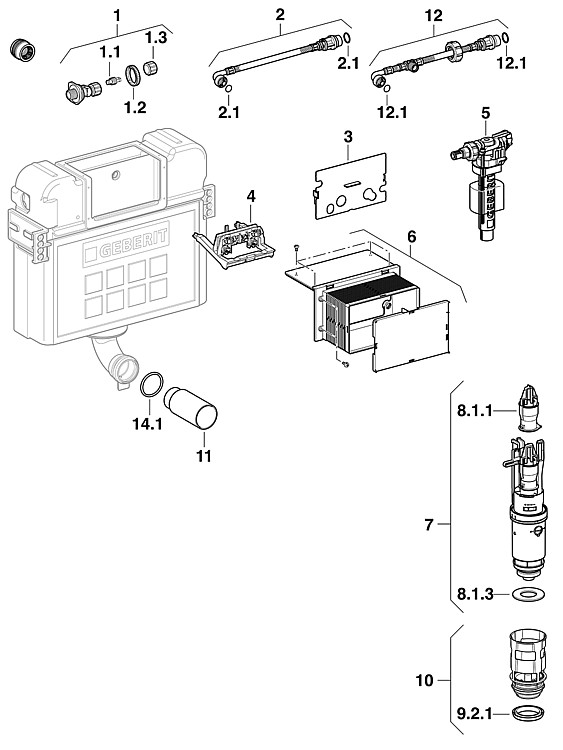 geberit wasseranschluss mit absperrventil f r up. Black Bedroom Furniture Sets. Home Design Ideas