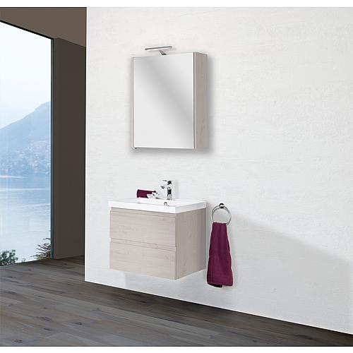 Badmöbel Set ELAI Serie MBO Eiche hell Dekor Breite 600mm 2 Auszüge Waschtisch Unterschrank