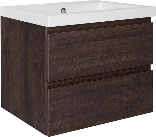 Waschtischunterschrank + Mineralguss Waschtisch ELAI Eiche dunkel 2 Auszüge 610x550x510mm