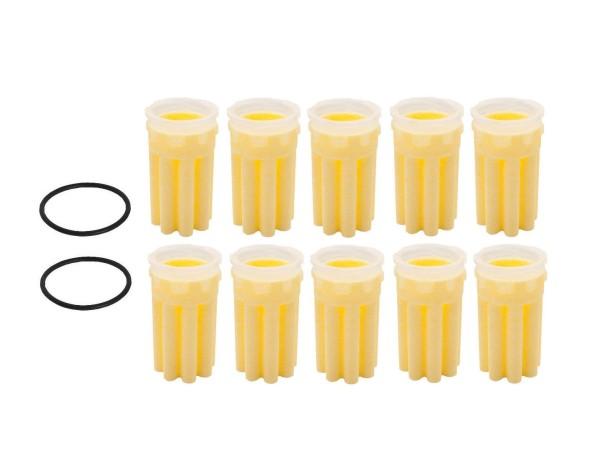 10 Filter Filtereinsatz Ölfilter + 2 Dichtungen Siku 50µm gelb Heizung Brenner