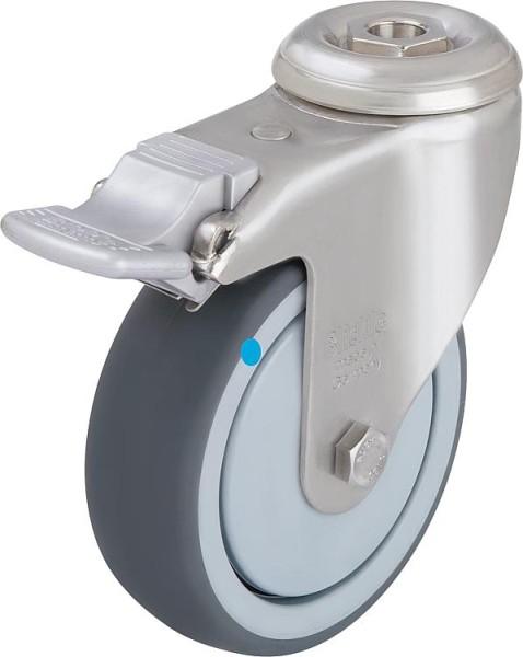 Lenkrolle Gummi-Laufbelag/Edelstahl Feststeller LKRXA-TPA 126G-FI Tragfähigkeit