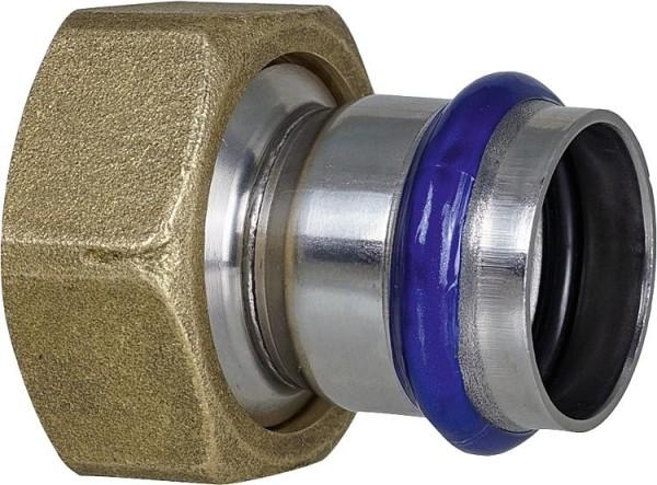 Edelstahl Pressfitting V-Kontur Durchgangsverschraubung mit IG, flachdi., 42 mm