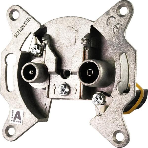 UP-Antennendose Schwaiger 2-loch 1 x IEC Buchse, 1 x IEC Stecker