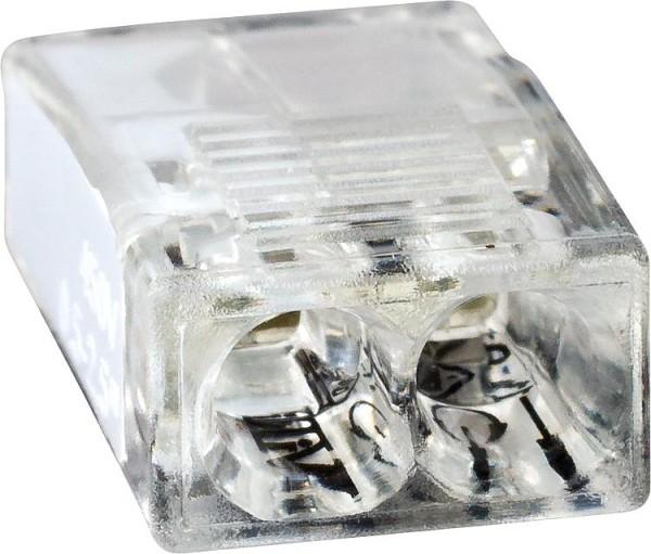 Mini-Steckklemme 2-fach weiß, VPE = 100Stück