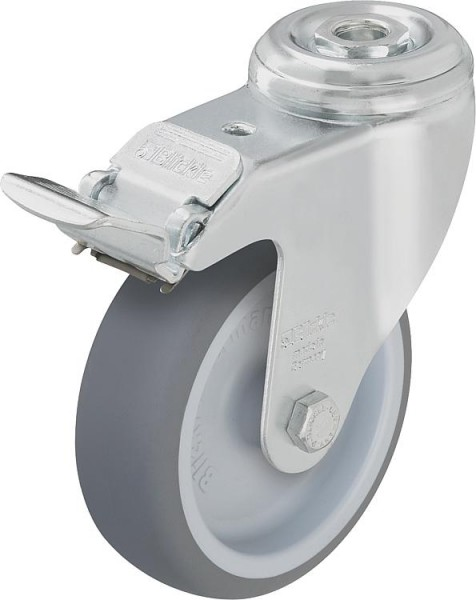 Lenkrolle m. Feststeller aus Stahl LKRATPA 126G-FI, Gummi-Laufbelag Tragfähigke